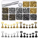 Selizo 480 Sets 4 Colors 3 Sizes Leather Rivets Double Cap Rivet Tubular Metal Studs with 3 Pieces Setting Tool Kit for Leather Craft Repairs Decoration (Color: assorted colors)