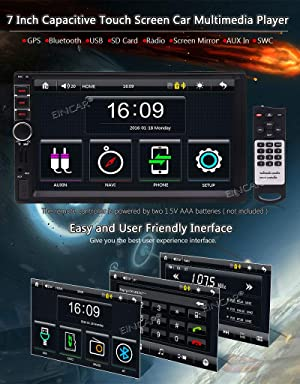 EINCAR Car GPS Navigation Stereo Double 2 Din Head Unit Bluetooth 7 inch LCD Touch Screen 1G + 16G Support FM Radio/GPS Navigation/Steering Wheel Control Free Backup Camera (Tamaño: Pro V3)