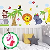 Animal Safari Jungle Vinyl Wall Decal for Kids Bedroom playroom - Decorative Art Stickers for Baby Girl Boy Wall Decor - Nursery Wall Stickers [24 Art clings] - Wall Decals for Boy - with Gift! (Color: Black)