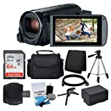 Canon VIXIA HF R800 Camcorder (Black) + SanDisk 64GB Memory Card + Digital Camera/Video Case + Extra Battery BP-727 + Quality Tripod + Card Reader + Tabletop Tripod/Handgrip - Deluxe Accessory Bundle (Color: Black)