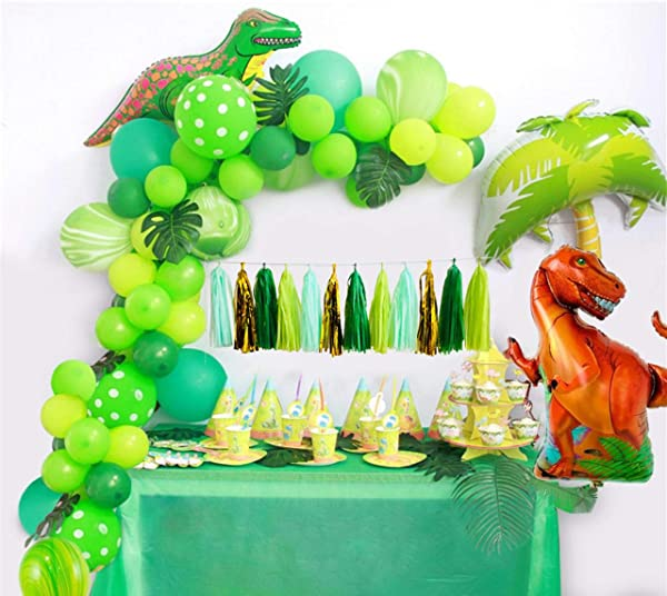 Dinosaur Party Happy Birthday Red Balloons 10 Piece Set Jurassic Decoration Kit