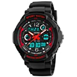 Kid Watch Multi Function Digital LED Sport 50M Waterproof Electronic Analog Quartz Watches for Boy Girl Children Gift Red (Color: Red)