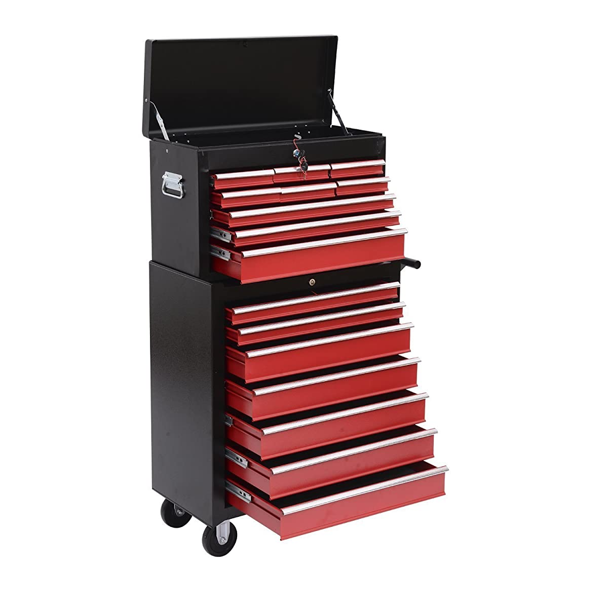 HomCom Rolling Tool Chest Cabinet with 16 Drawers, Black and Red