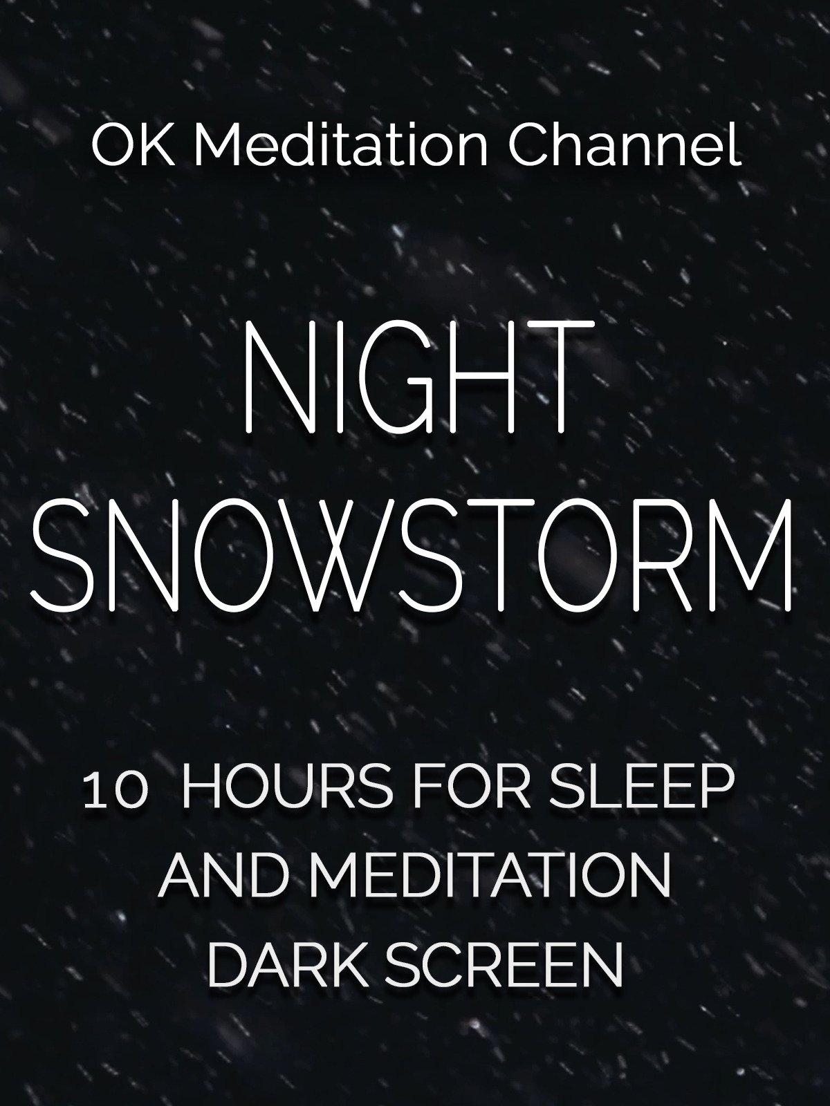 Night snowstorm, 10 hours for sleep and meditation, dark screen