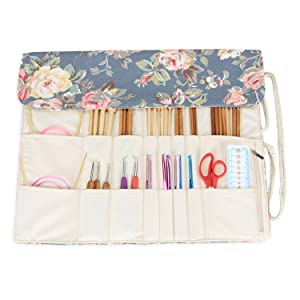 Teamoy Knitting Needles Holder Case(up to 14 Inches), Cotton Canvas Rolling Organizer for Straight and Circular Knitting Needles, Crochet Hooks and Accessories, Peony - NO Accessories Included (Color: Peony, Tamaño: 14 inches)