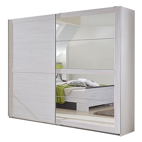 Wimex 980792 Schwebeturenschrank270 x 210 x 65 cm, vier Spiegelfelder, Front und Korpus weißeiche Nachbildung