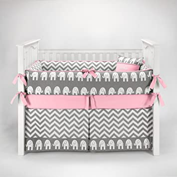 pink and gray chevron crib bedding 1