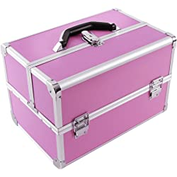 Songmics Alu Pro Make Up Storage Cosmetic Case - Pink
