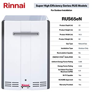 Rinnai RUS Series SE Tankless Hot Water Heater: Outdoor Installation (Color: RUS65eN - Natural Gas/6.5 GPM)