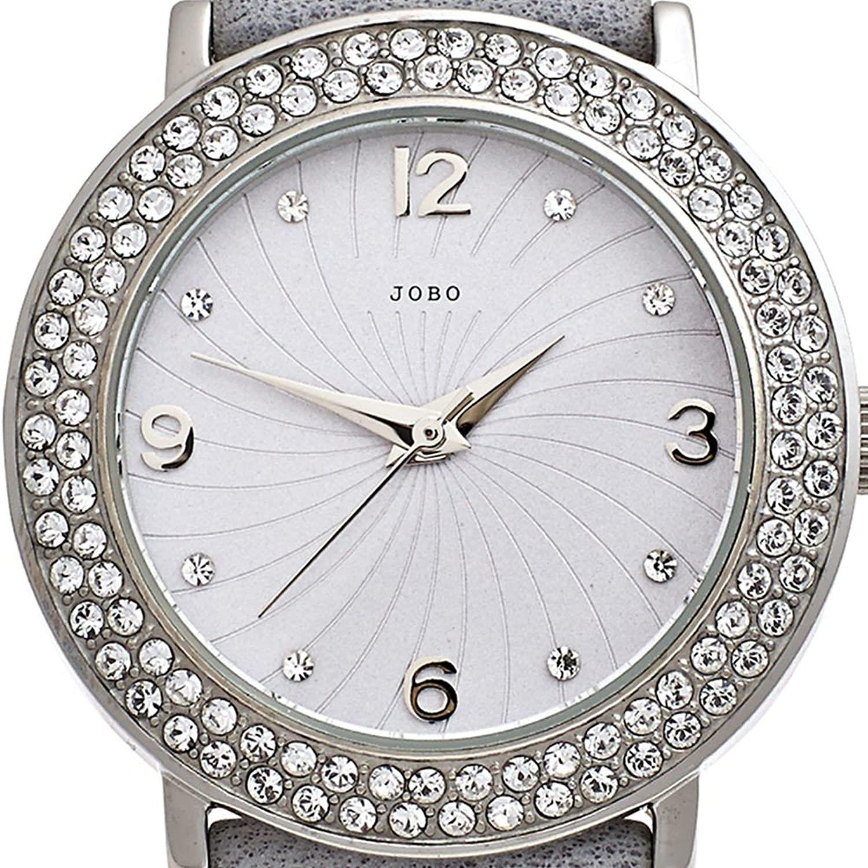 JOBO Damen-Armbanduhr Quarz Analog Edelstahl Mineralglas Kristall-Elements günstig online kaufen