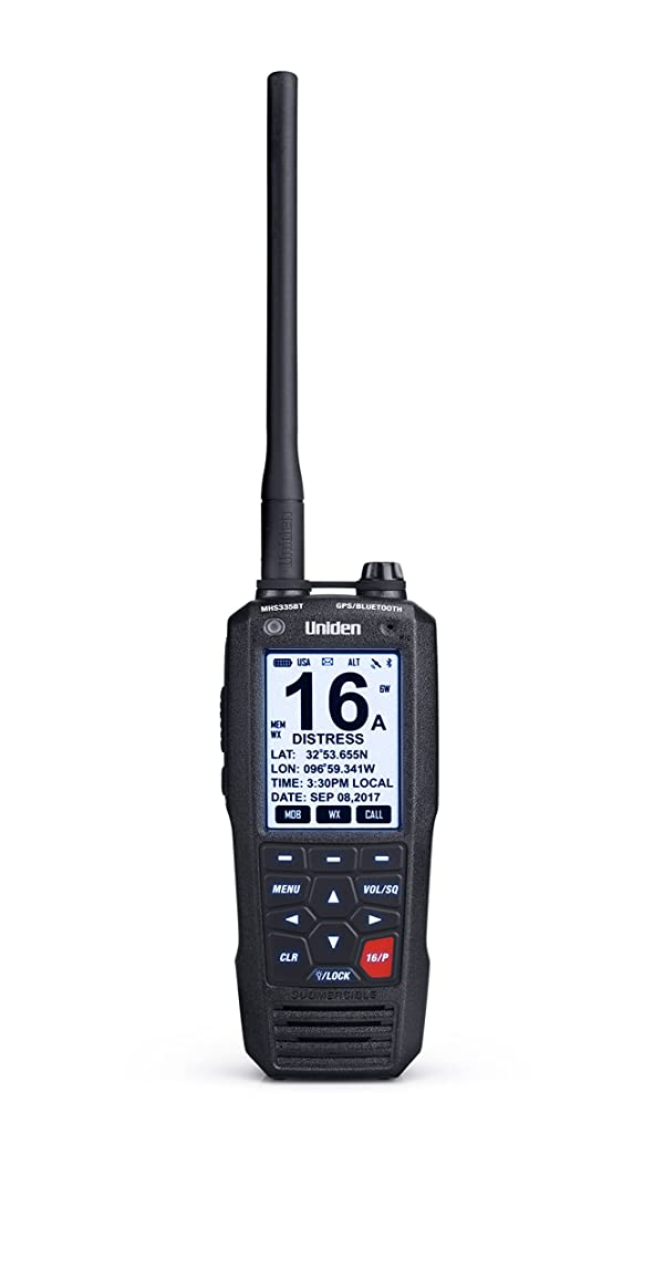 Uniden MHS335BT 6W Class D Floating Handheld VHF Marine Radio with Bluetooth, Text Message Directly to Other VHF Text Message Capable Radios, IPX8 Submersible Design (Color: MHS335BT)