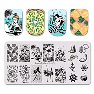 BEAUTYBIGBANG 4Pcs Nail Stamping Plate Summer Theme - Beach Ocean Fruit Rain Image Plates Nail Art Design Stamp Kits Manicure Template set