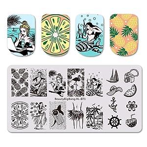 BEAUTYBIGBANG 4Pcs Nail Stamping Plate Summer Theme - Beach Ocean Fruit Rain Image Plates Nail Art Design Stamp Kits Manicure Template set