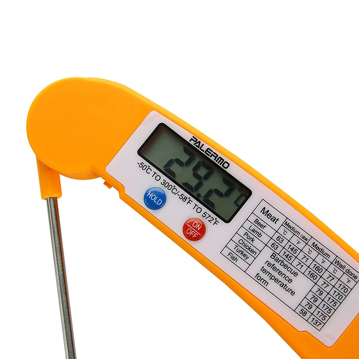 Palermo Instant Read Digital Cooking Thermometer with Collapsible Internal Probe - Orange