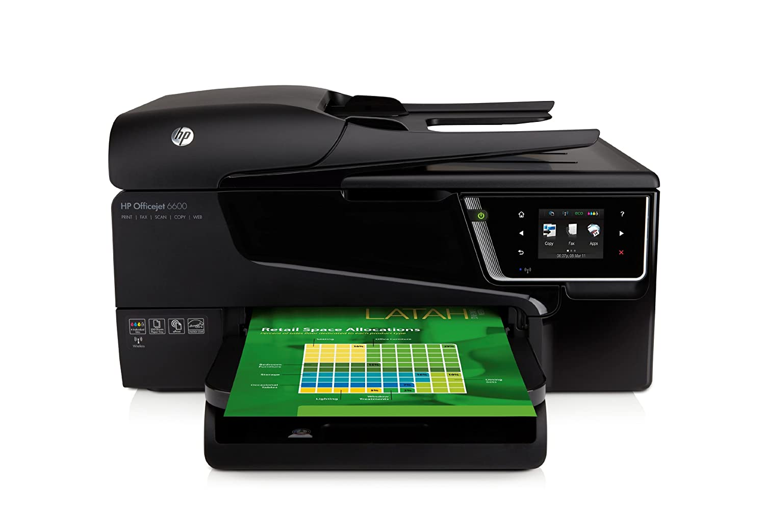 Hp officejet 6600 e all in one wireless color photo for Hp all in one printer with document feeder