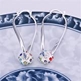NYKKOLA Beautiful 925 Sterling Silver Unique Jewelry Classic Colorful Crystal Dangle Earrings