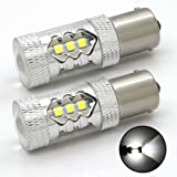 1156 7506 1141 BA15S LED Car Turn Signal Ligth Bulb with 3030 SMD 80W 1600 Lumens Super Brighter Pack of 2 White