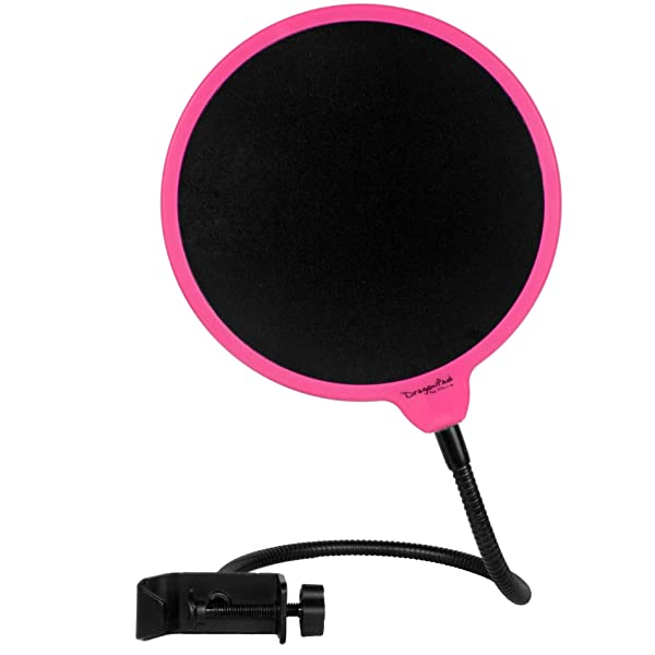 Dragonpad USA 6 Microphone Studio Pop Filter with Clamp - Pink/Black
