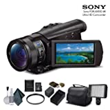 Sony FDR-AX100 4K Ultra HD Camcorder (FDR-AX100 4K) with 16GB Memory Card, Extra Battery and Charger, UV Filter, LED Light, Case and More. - Starter Bundle (Tamaño: Starter Bundle)