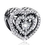 ANGELFLY 925 Sterling Silver Dazzling Cubic Zirconia Heart Charms Bead for DIY Snake Chain Bracelet (Heart) (Color: Heart)