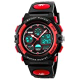 Kid Watch 50M Waterproof Sport LED Alarm Stopwatch Digital Child Quartz Wristwatch for Boy (Color: Red)