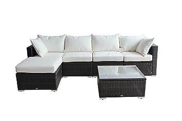 Outdoor Rattan Set 6 Pcs Sofa Wicker Sectional Garden Patio Furniture Broyerk