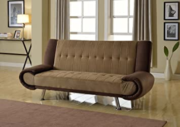 UFE Monaco Sofa Bed Futon Couch Light Brown Velvet Microfiber
