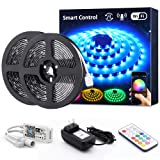 Novostella Smart RGB LED Strip Lights Kit, 20ft Wireless Flexible Color Changing 5050 LEDs, Waterproof RF Remote 12V Dimmable LED Tape for Home Lighting, Working with Alexa Goolge Assistant, UL Listed (Color: Multicolor, Tamaño: 20ft-Waterproof)