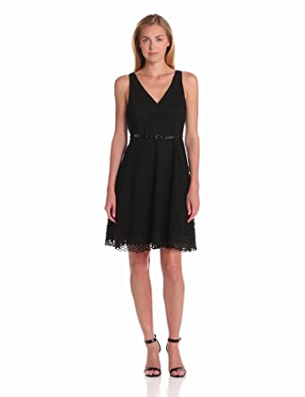 Donna Morgan Women's V-Neck Eyelet Fit and Flare Dress with Belt, Black, 10