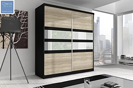 STYLISH SLIDING DOOR WARDROBE 6 ft (183cm) MULTI F09 BLACK SIDES & SONOMA OAK DOORS