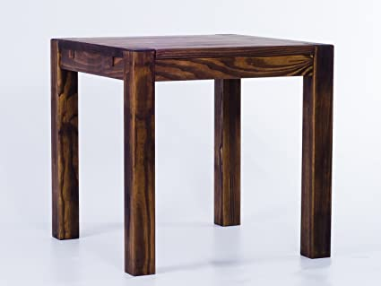 Brasil Rio Kanto Furniture Dining Table, Solid Pine Wood Oiled and Waxed Oak Antique Cognac, L x w x h: 80 x 80 x 78 cm