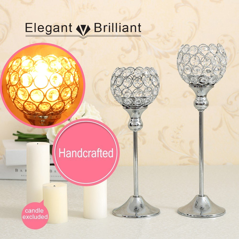 VINCIGANT Sparklers Wedding Table Centerpieces Candelabra,Decorative Floor Vases Crystal Candle Holders for Dining Room Decoration,Set of 2