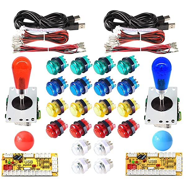Arcity 2 Player Arcade LED Buttons and Joystick Kits Illuminated DIY Controller USB Encoder to PC Games 8 Ways Joystick Bat Top + 10 LED Push Buttons + Balltop for Windows Jamma MAME Raspberry Pi New (Color: Mix Color)