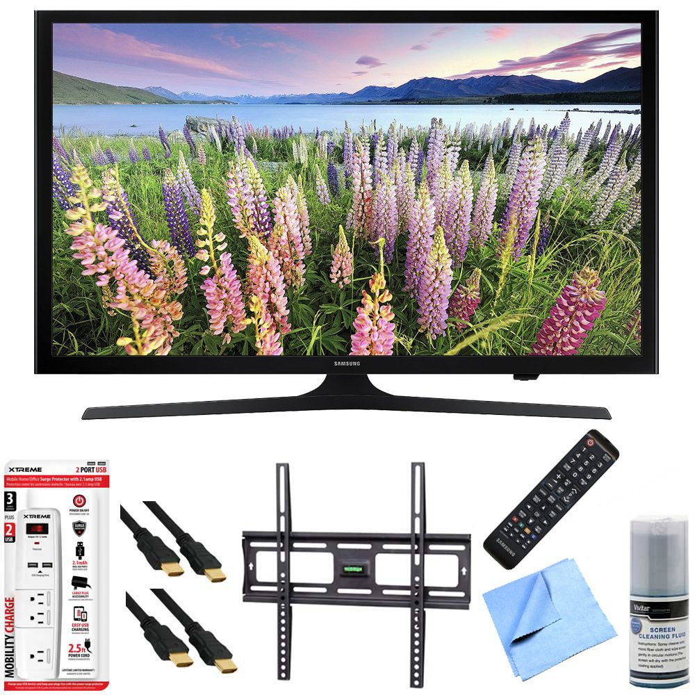 Samsung UN48J5200 - 48-Inch Full HD 1080p LED HDTV Mount & Hook-Up Bundle includes UN48J5200 48-Inch Full HD 1080p LED HDTV, Flat Wall Mount Kit, 6 Outlet/2 USB Wall Tap and Microfiber Cleaning Cloth