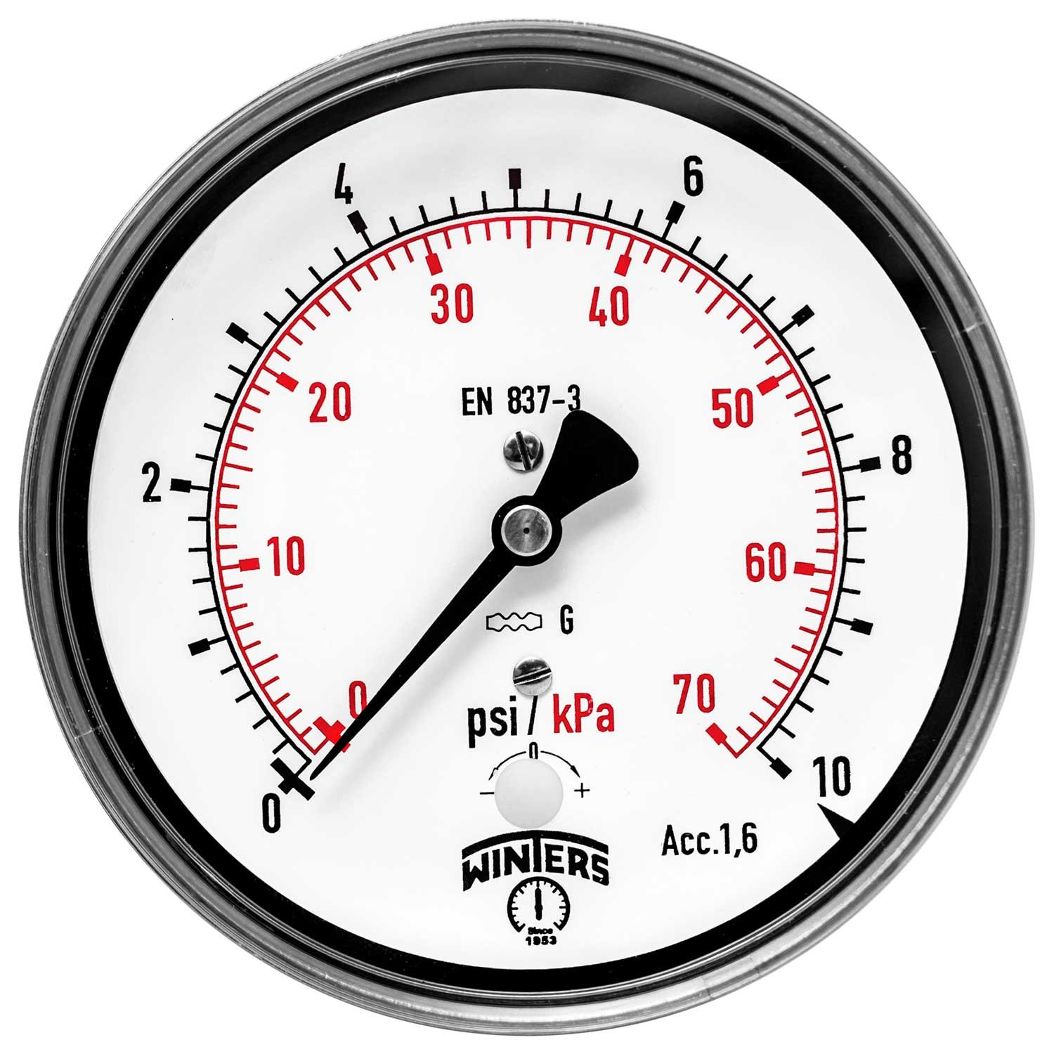 Winters PLP Series Steel Dual Scale Low Pressure Gauge with Stainless Steel Internals, 0-10 psi, 4
