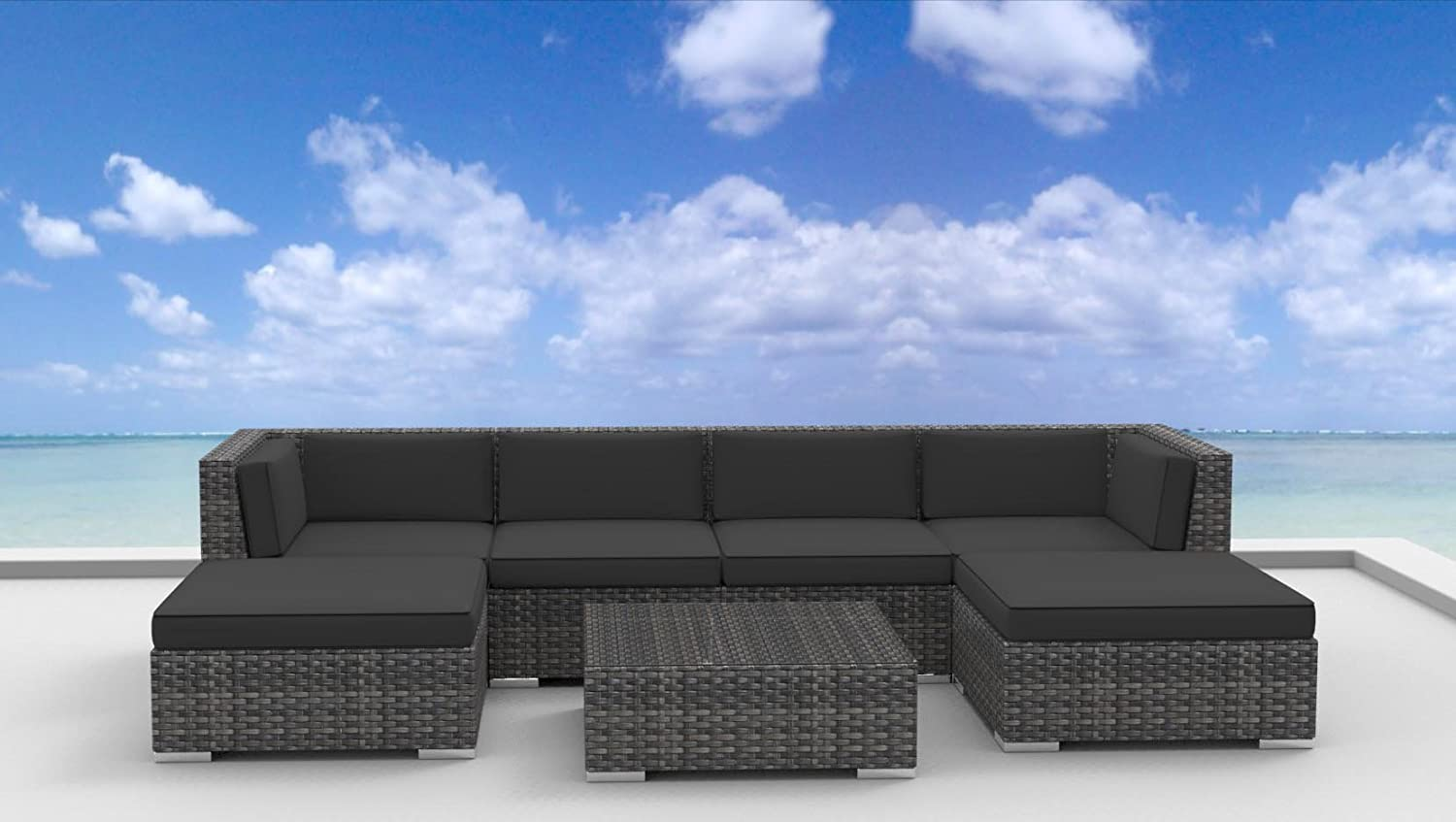 www.urbanfurnishing.net Urban Furnishing - MAUI 7pc Modern Outdoor Backyard Wicker Rattan Patio Furniture Sofa Sectional Couch Set - Charcoal at Sears.com