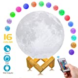 AED+ Moon Lamp, Slap & Touch & Remote Control, Dimmable, Color Changing, USB Recharge, Seamless, LED 16 Colors RGB Lunar Night Light Lamp with UL Listed Adaptor, Christmas Gifts for Kids (7.1INCH) (Tamaño: 16 Colors 7.1INCH)