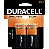 Duracell - CopperTop 9V Alkaline Batteries - long lasting, all-purpose 9 Volt battery for household and business - 4 count (Color: Black, Tamaño: 4 count)