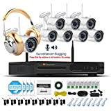 Jennov Wireless CCTV Bullet Network/IP Security Camera System 8 Channel 1080P NVR Kit White 960P Wifi Cameras 3.6mm Lens Wide Angle 65ft Night Vision IP66 Weatherproof With Audio Record (No HDD) (Tamaño: 8CH 960P wireless camera system)