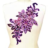 7.5x15 in 3D Colorful Flower Mesh Embroidered Rhinestone Lace Beaded Applique with Sequins DIY Lace Fabric Trim for Clothes Accessories Hardware (Purple) (Color: Purple)
