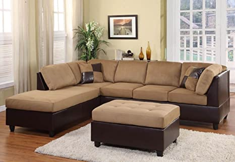 Comfort Brown/Dark Brown 3-Seater By Homelegance