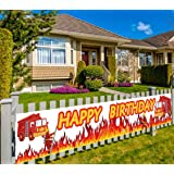 Large Fire Truck Happy Birthday Banner, Firetruck Birthday Sign Flag, Firefighter Fireman Birthday Party Supplies Decoration, Fire Engine Rescue Theme Birthday Outdoor Indoor Decoration, (9.8 x 1.5 ft)