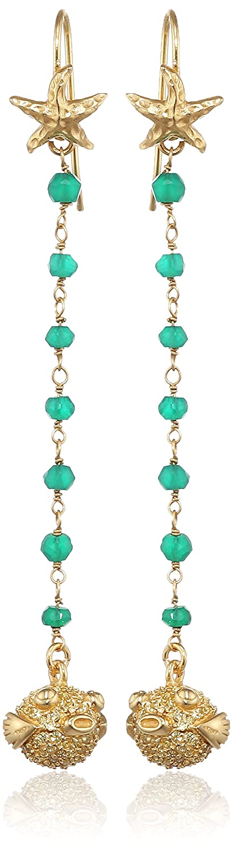 Misis Damen-Durchzieh Ohrringe deep reef 925, Silber, Vergoldet, Zirkonia Rundschliff mehrfarbig Quarz 7.8 cm – OR08207 als Geschenk