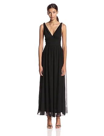 Ever Pretty Women's Elegant V-Neck Long Chiffon Crystal Maxi Evening Gown, Black, 4