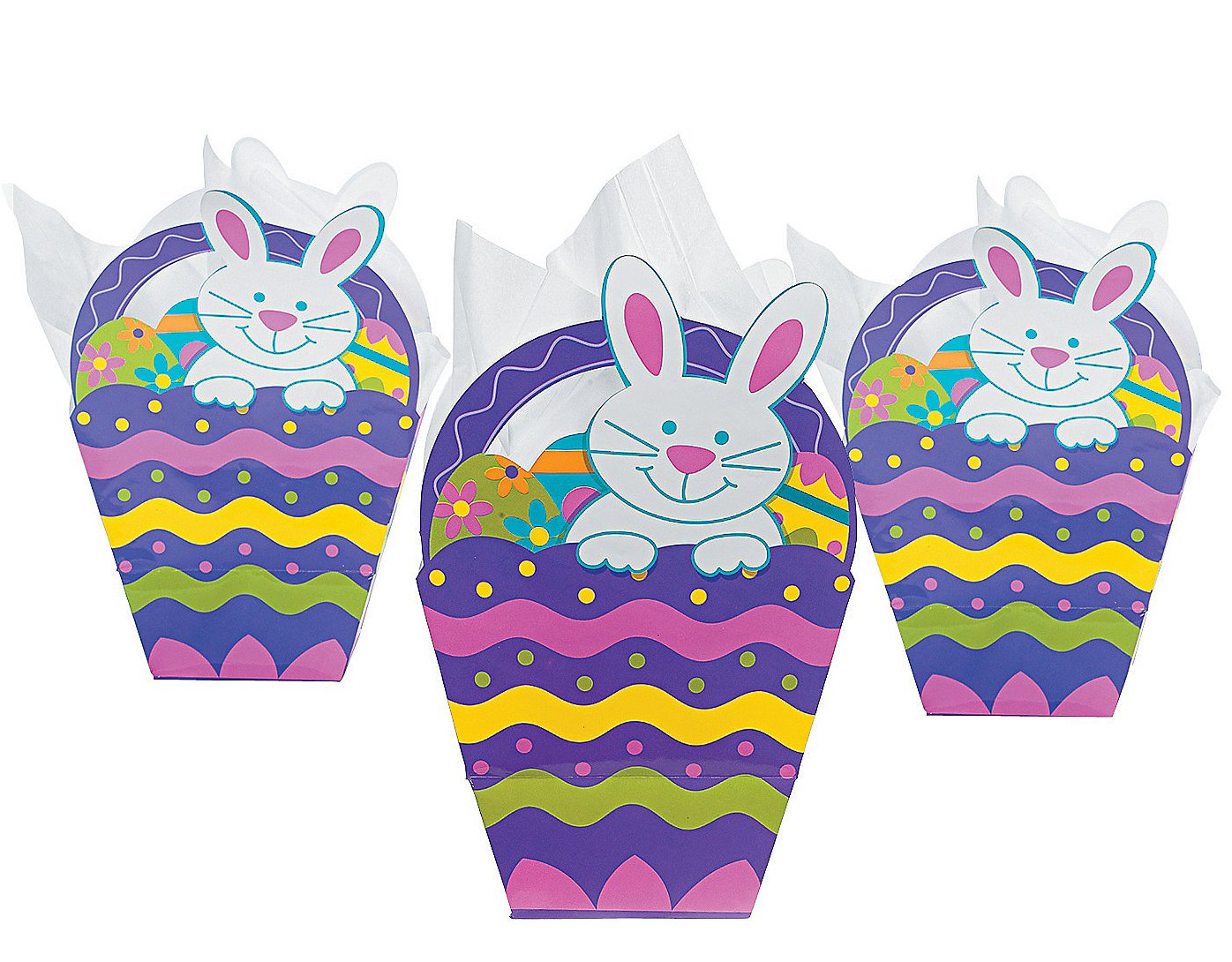 Easter party favor treat bags easter wikii 12 easter basket shaped gift bags paper approx 105 high x 65 wide new in sealed package negle Image collections