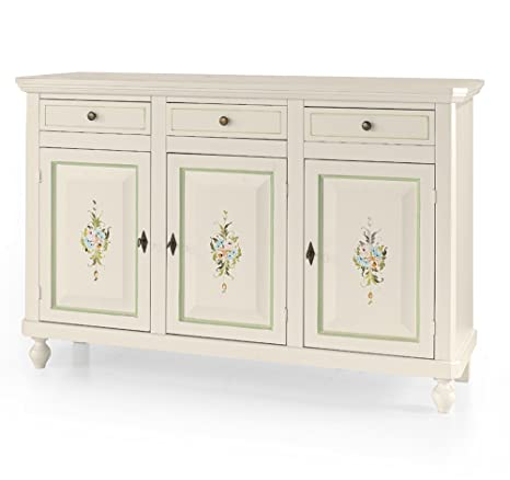 Credenza in legno, bianco opaco, arte povera - cm 150x43