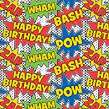 The Gift Wrap Company Deluxe Quality Gift Wrap Roll, Birthday Comics