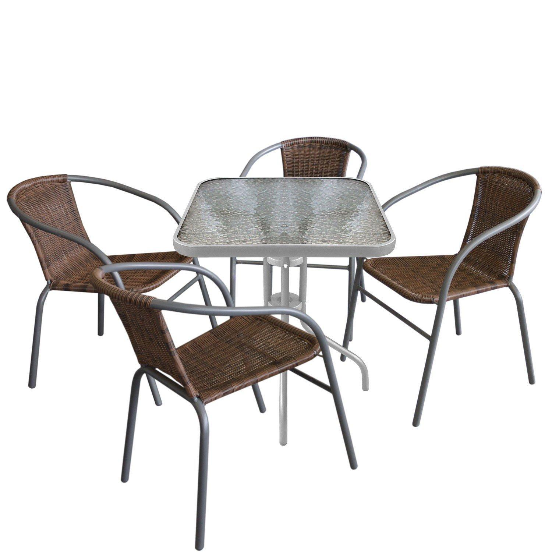 5tlg bistrogarnitur bistrotisch 60x60cm silbergrau 4x for Sitzgarnitur u form