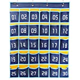 Misslo Numbered Classroom Pocket Chart for Cell Phones and Calculator Holder (30 Pockets, Blue Pockets)