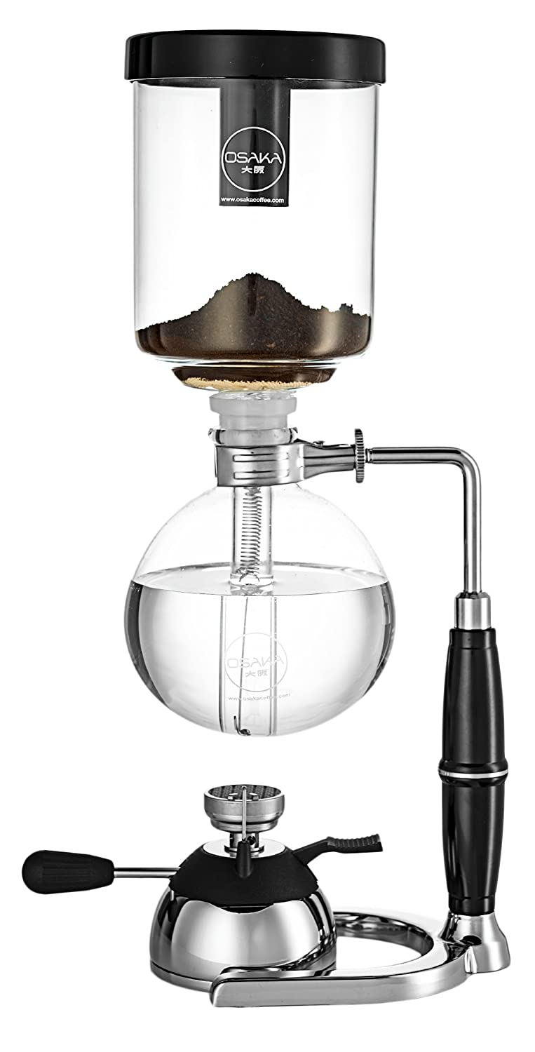 "Osaka 4 Cup (20oz/600ml) Siphon Coffee Maker, Borosicilate Glass and Stainless Steel Vacuum Coffeemaker ""Skytree"" with Gas Burner and Alcohol Burner"